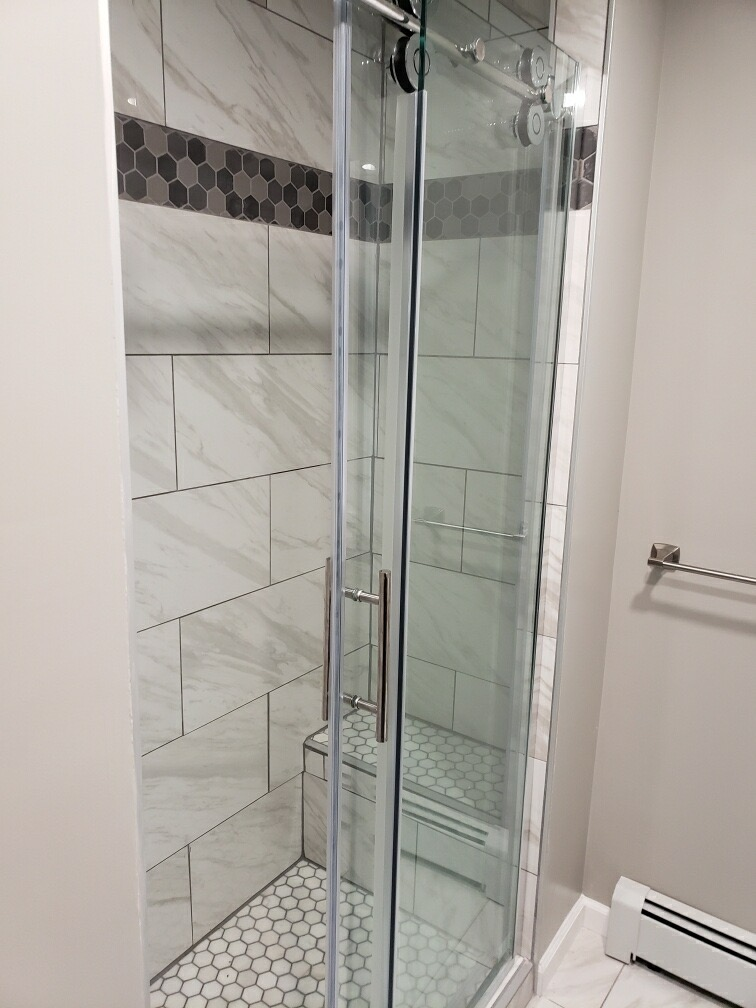 stand up shower bathroom remodel